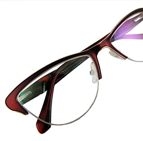 Circleperson women cat eye Reading glasses spring hinges half-rimless Middle size (Burgundy, 1.5)