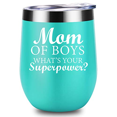 Mom of Boys- LEADO 12 oz Stainless Steel Novelty Wine Tumbler Insulated Funny Wine Glass with Lid and Straw, Best Mothers Day Birthday Christmas Gifts Ideas for Women, -
