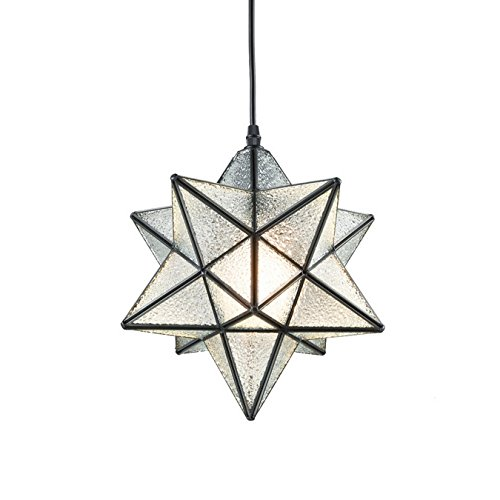 YOBO Lighting Moravian Star Textured Glass Pendant Lamp 1 Light, 12-in ()