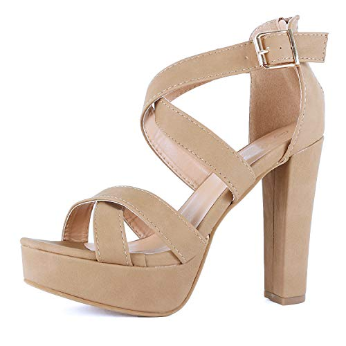 Guilty Shoes Women's Platform Ankle Strap High Heel - Open Toe Sandal Pump - Formal Party Chunky Dress Heel Sandals (9 M US, Tan Pu)