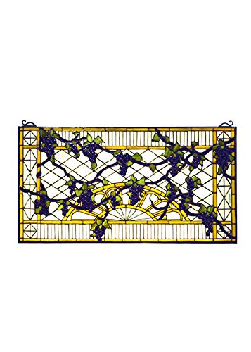 Meyda Victorian Tiffany Fruit Grape Diamond Trellis Stained Glass Window