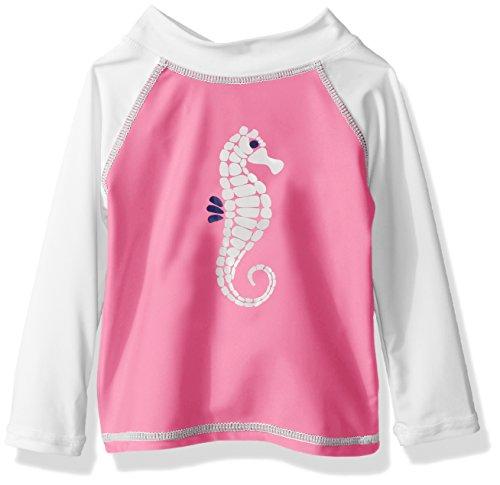 Flap Happy Baby Girls' UPF 50+ Graphic Rash Guard/Swim Top, Seahorse Bliss, 18m (Baby Girls Rash Guard Top)