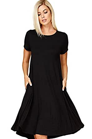 Annabelle Women's Comfy Short Sleeve Scoop Neck Swing Dresses With Pockets Small Black D5213
