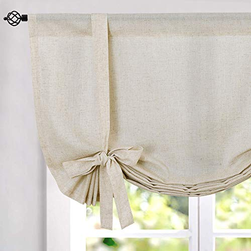 jinchan Tie Up Shade Curtains Rod Pocket Drapes Multicolor Medallion Flax Living Room's Window Curtain 1 Panel 54