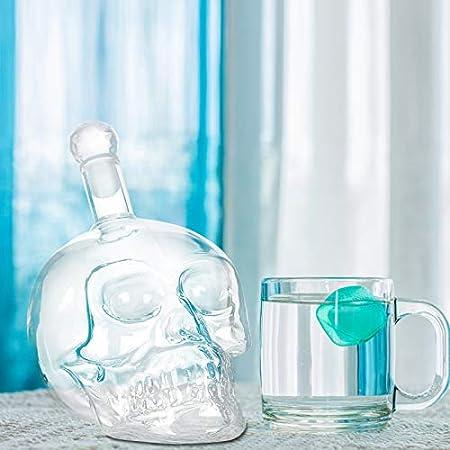 SIPERLARI Decantador de vino, decantadores de licor, botella de calavera, Decantador de vino SIPERLARI con tapón, botella de vodka creativa transparente, decantadores de whisky multiusos (1000 ml)
