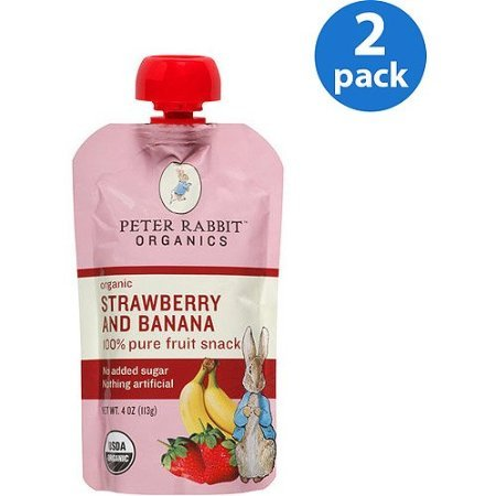 Peter Rabbit Organics Strawberry and Banana 100% Pure Fruit Snack Baby Food, 4 Oz, (pack of 2)