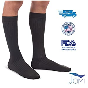 Jomi Compression Men Collection, Compression Socks Microfiber, 30-40mmHg 302 (X-Large, Black)