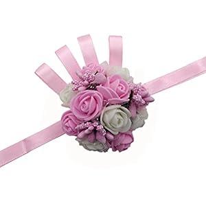 Arlai 1pcs Pink Rose Brides Ribbon Wrist Corsage Bridesmaid Wedding Decorative Hand Flower for Prom, Party, Wedding 15