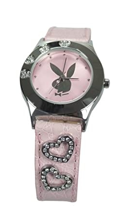 bb65bbb42d06 Playboy PB0265PK Rabbit Head Design Watch with Heart Set Pink Leather Strap   Amazon.co.uk  Watches