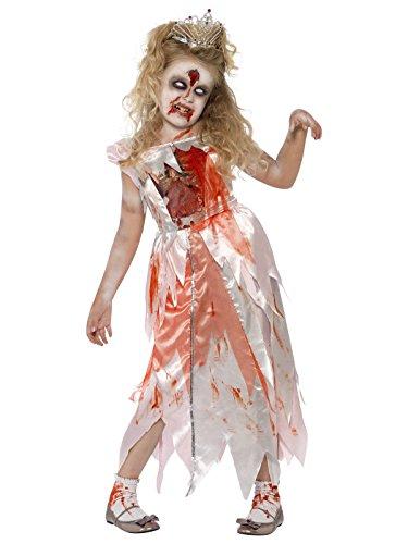 Zombie Prinzessin Halloween Kinderkostüm weiss rot 122-134