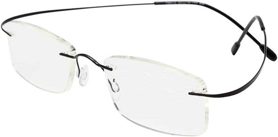 D&XQX Ultraligero sin Montura de Gafas de Lectura Hombres Mujeres contra la luz Azul Gafas de Lectura Anticansancio Resina Ordenador Gafas de presbicia 1,0-3,5,Negro,+2.50