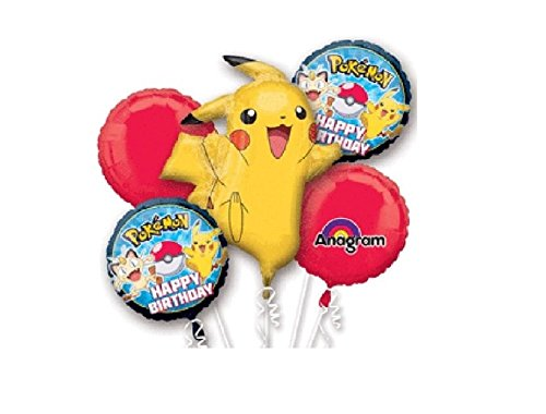Pokemon Pikachu and Friends Birthday 5 Mylar Balloons Bouquet ~ Party Supplies by Anagram