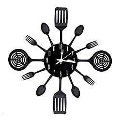 [2017 Version] EasyHoKi Large Kitchen Metal Wall Clock (16 in) with Non-ticking Design, Indoor/Outdoor (Black)