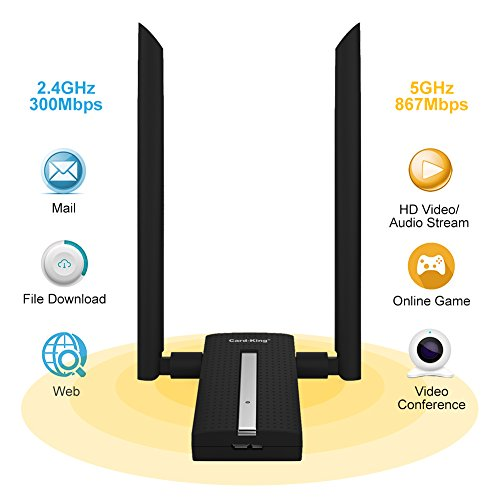 Card King Wifi Adapter AC1200 Usb Wireless Adapter 2.4GHz/ 5GHz Dual Band Network Lan Card with Double High Gain Antenna for Windows 10/8.1/8/7/XP/Mac OS10.6-10.12 by Card-King (Image #1)