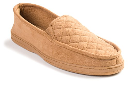 J. Fiallo Mens Quilted, Suede, Soft Terry Cotton Lining, Closed Back Slippers In Classy Colors (Medium / 8.5 - 9.5, Camel)
