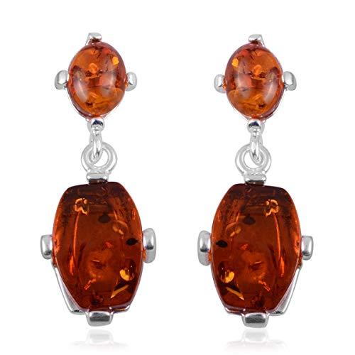925 Sterling Silver Handmade Mix Amber Dangle Drop Earrings for Women Jewelry Gift ()
