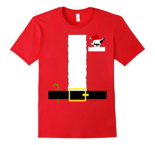 Mens FUNNY SANTA CLAUS COSTUME T-SHIRT Pug Puppy X-MAS Holiday XL Red