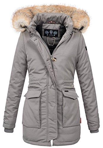Navahoo Damen Winter Jacke Parka Mantel Winterjacke Warm Gefütterte Kapuze  B612 Grau A42fO