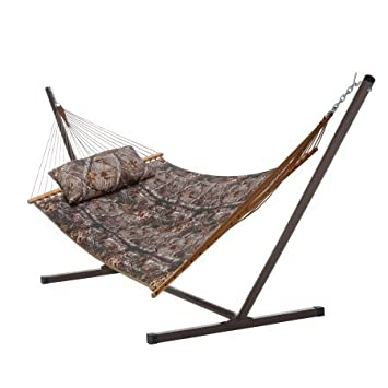 castaway rods 450 lb realtree quilted hammock  bo w  pillow  u0026 stand amazon     castaway rods 450 lb realtree quilted hammock  bo w      rh   amazon