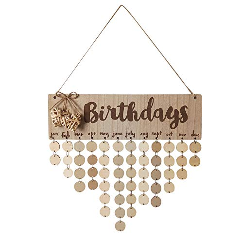 Amaping Wooden Birthday Reminder Board Chips Hanging Decor Birch Plaque Sign Memo DIY Calendar Ornament Gifts (Birthday-Round Wood Peices)