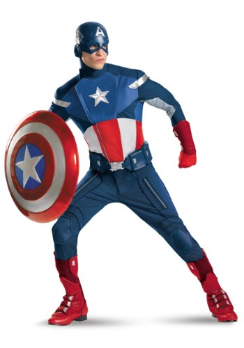 Disguise Mens Captain America The Avengers Theat Superhero Theme Party Costume, Plus (50-52)