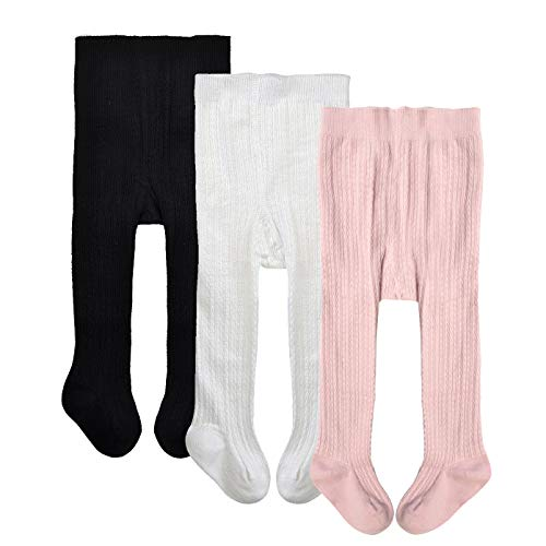 - Epeius 3 Pairs Pack Toddlers Girls Tights Baby Girls Boys Seamless Cable Knit Leggings Solid Cotton Tights Footed Pants for 12-24 Months,Black/White/Pink