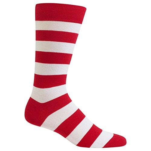 Hot Sox Men's Fashion Pattern Slack Crew Socks, College Rugby Stripe (Red/White), Shoe Size: 6-12