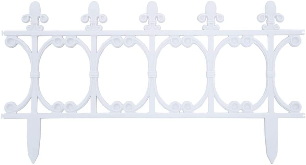 "Canditree 16 pcs Garden Decorative Fence, Lawn Edgings Borders 393.7"" (White)"