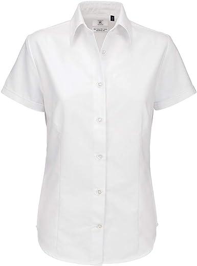 B&C- Camisa de Manga Corta Oxford para Mujer