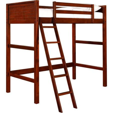 Wood Loft Ladder (Adjustable Your Zone zzz Collection Loft Bed for Kids Age 6 and up with Solid Panel Headboard and Foot Board Ladder Mounted Safety Rails for Added Security and Convenient Work Area Under the Bed Decor Young Furniture Comfortable Beautiful Fine)