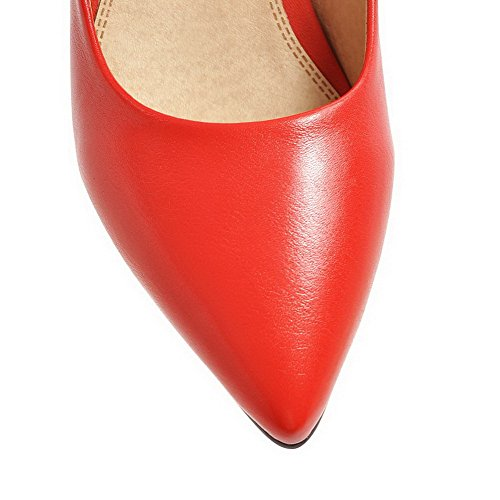 Odomolor Women's Pull-On Closed-Toe Kitten-Heels PU Solid Pumps-Shoes, Red, 35