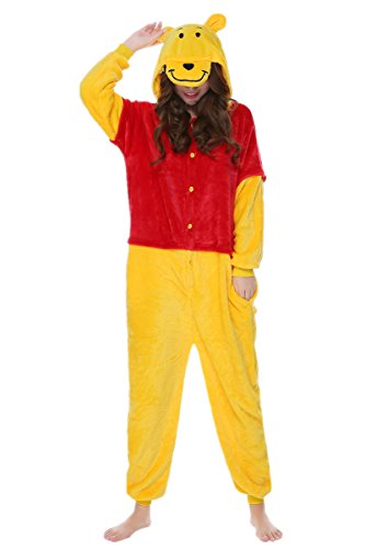 kxry Costume Winter Adult Cartoon Cosplay Pajamas Onesies Carnival Party (Small, Winnie the (Winnie The Pooh Costume For Women)