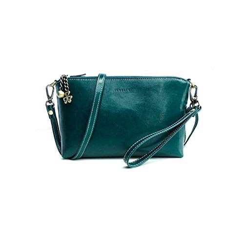 Small Crossbody Bags Leather Wristlet Clutch Double Zipper Purses Handbags With Card Slots 2 Straps