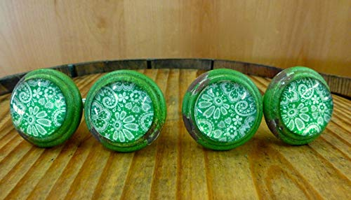 4 Green-White LACE Glass Drawer Cabinet PULLS KNOBS Vintage Distressed Hardware Distressed Antique Brass Cup Pulls