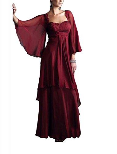Abendkleid BRIDE tief Sleeveles Tief Mutter der Chiffon Wein Weinlang Braut GEORGE dUq8dg