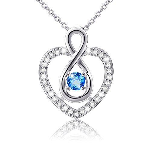 Diamond Eternal Love Band (925 Sterling Silver Heart Blue CZ Eternal Infinity Love Pendant Necklace, 18