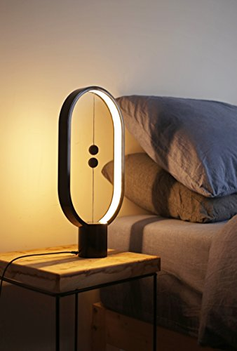 Heng Balance Lamp, Designer Table Lamp for Living room, Bedroom and Office. Desk Lamp for Computer. Bedside Lamp for Nightstand. The Modern Ellipse Mood Lamp with Magnetic Switch in Air. (Black) by Allocacoc (Image #5)