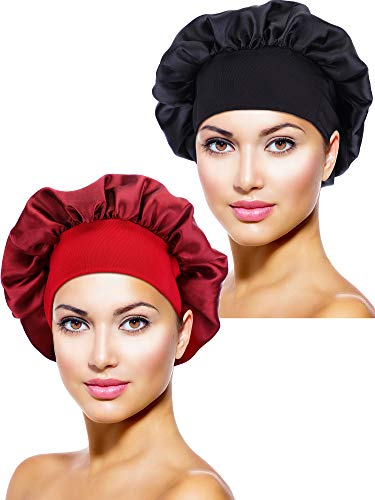 Blulu 2 Pieces Satin Bonnet Night Sleep Cap Sleeping Head Cover for Women Girl Sleeping (Black, Wine Red)