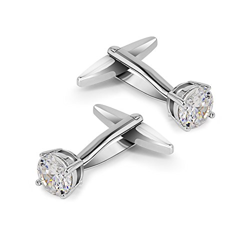 Cufflinks Swarovski Cuff (Mr.Van Swarovski White Crystal Cufflinks Glimmering Diamond Color Cuff Links Set for Wedding Party)