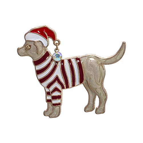 Madison Tyler Holiday Collection Dog withSanta Hat and Striped Sweater Pin (Madison Sweaters Christmas)