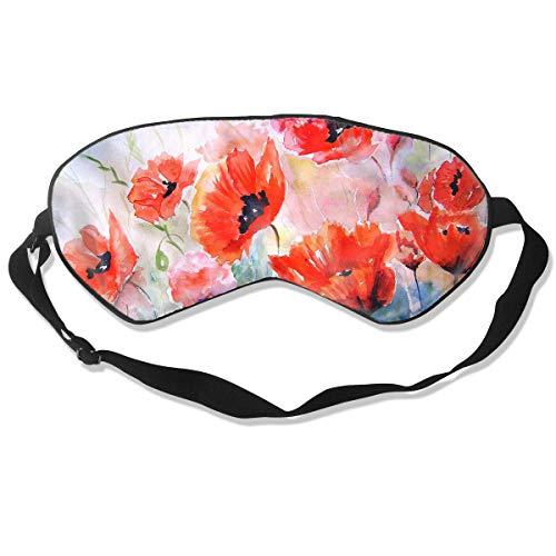Homlife Sleep Mask 100% Silk Eye Mask Artistic Poppy Flowers Painting Eye Cover Sleeping Mask for Travelling, Night Noon Nap, Mediation Or - Mulberry Poppy