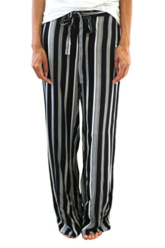 Wide Leg  Bold Black Striped Pants For Women, by New Look