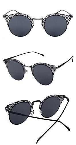 mujeres color hueco blanca sol negro Las lente caramelo lente Gafas Gafas gafas DESESHENME de negra plateado sol borde Borde de Flat de P5qZZwOx