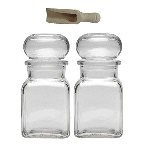 (Viva Haushaltswaren Glass jar with Glass stoppers, Round Stopper, Candy jar, Tea Caddy, Collecting Glass, etc. usable (Including a Scoop), Glass, Transparent, 2 x 150ml)