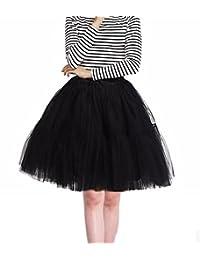 Cocobla Women's 50s Rockabilly Tutu Tulle Skirts 6 Layers Swing Petticoat Classic Lolita