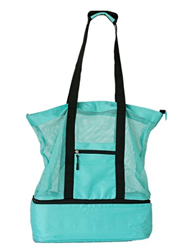 LEWONDE Mesh Beach Bag with Cooler Compartment and Zipper Top - Lightweight and Foldable Beach Tote – Large Practical Stylish Bag for Beach Pool Picnic (Turquoise Clear Light)