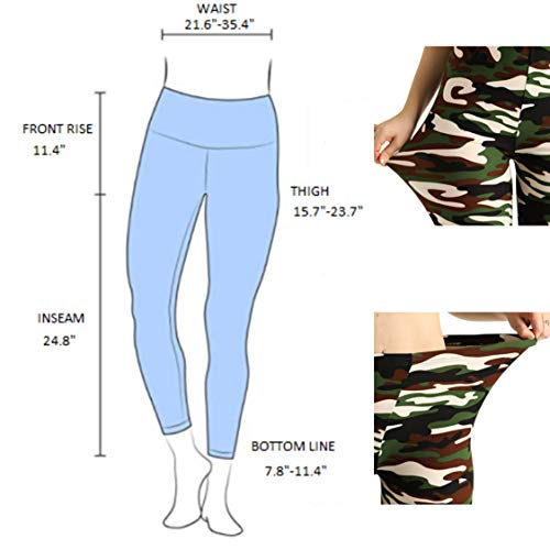 XH.Easy Go CAMO Green Leggings Pant Woman-Soft Army Pattern Tummy Control high Waisted Workout Leggings Yoga Pant for Woman (Camo Green, one Size)