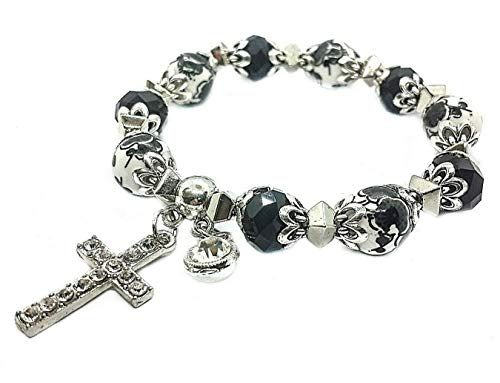 (Nazareth Store Black Crystals Rosary Bracelet Christian Classic Flowers Beaded Bracelet With Cross Sacred Gift for Teen Girls Jewelry for Women And Men)