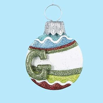 Amazon.com: Mulit Color Glitter Ball Ornament w Letter Initial G ...