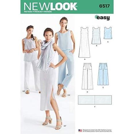 Simplicity New Look patrón de la Mujer Vestido/túnica/Superior/Pantalones/Bufanda